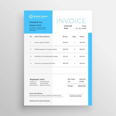 business invoice blue minimal template design Ilustração Vetorial