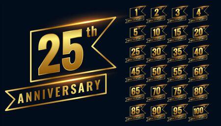 golden happy anniversary premium labels logotype set Illustration