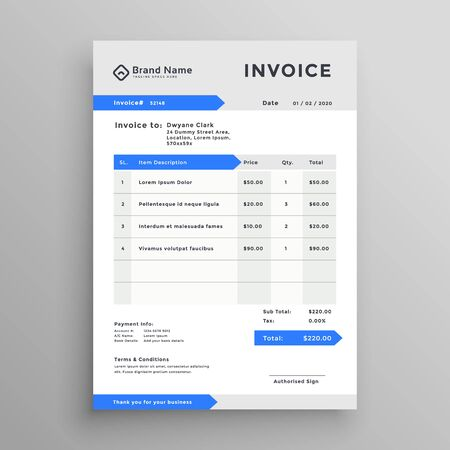 elegant blue gray vector invoice template design