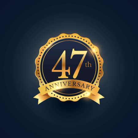 47th anniversary celebration badge label in golden color