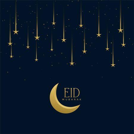 eid mubarak holiday greeting with falling stars