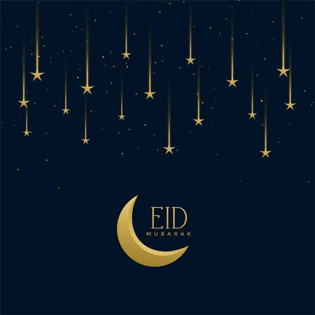 salutation de vacances eid mubarak avec des étoiles filantes