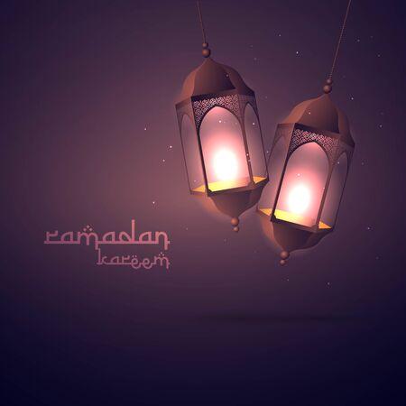 ramadan kareem greeting with hanging lamps