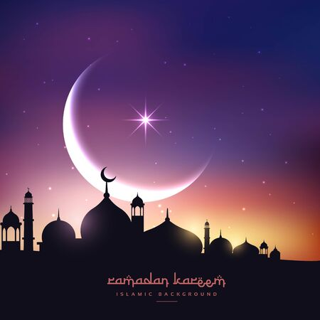 mosque silhouette in night sky with crescent moon and star Vector Illustration