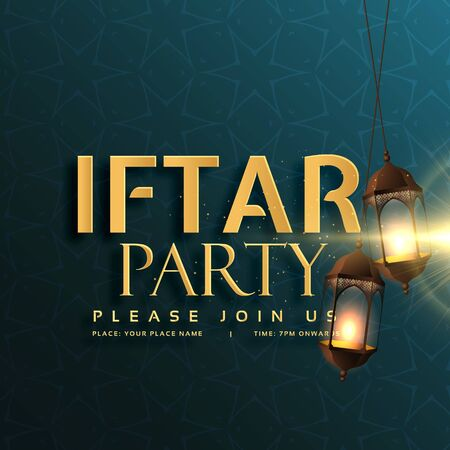 iftar party invitation card design with hanging lamps