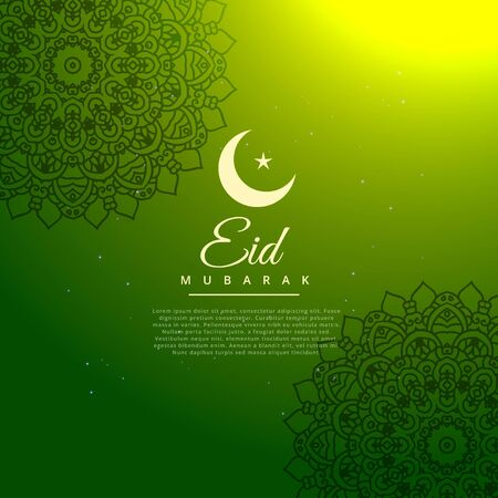 eid mubarak festival creative text in green background