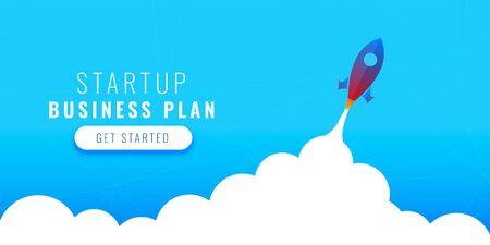 startup business plan concept design with flying rocket Иллюстрация