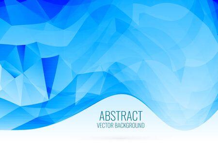 abstract blue wavy shape triangle background Ilustración de vector