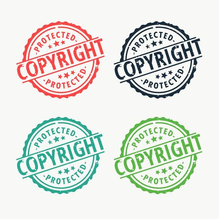 copyright badge rubber stamp set in different colors