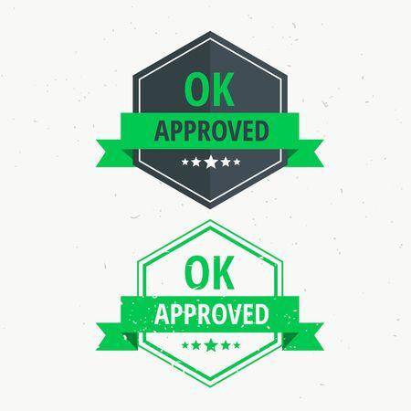 approved rubber stamp label badge design in green color Vector Illustratie