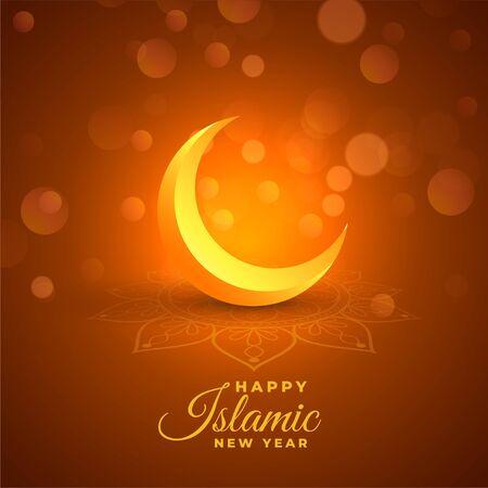 happy islamic new year glowing bokeh background Stock Illustratie