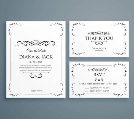 clean wedding invitation, thankyou card, save the date template design Ilustración de vector
