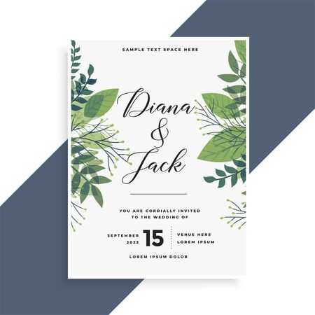beautiful green leaves wedding invitation card design Vector Illustratie