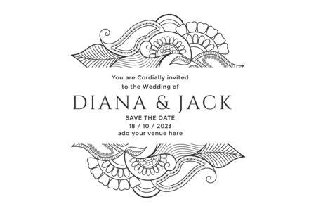 mehndi floral decoration wedding card design Ilustração