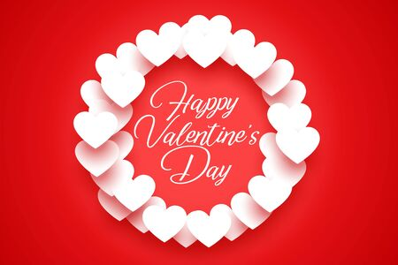 red background with white valentine hearts frame