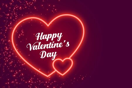 two neon hearts happy valentines day design