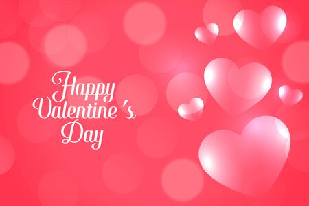 attractive pink bokeh valentines day hearts banner