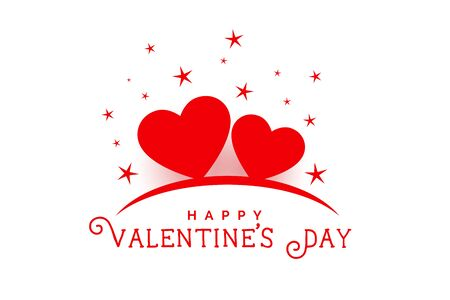 happy valentines day beautiful hearts and stars background 向量圖像