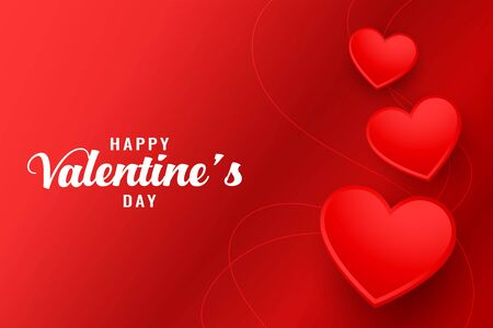happy valentines day beautiful red hearts greeting background