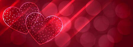 romantic two shiny hearts bokeh background design