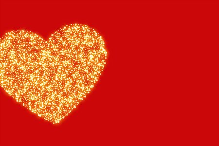 red background with golden glitter heart design
