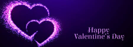 two sparkle purple hearts for valentines day 向量圖像