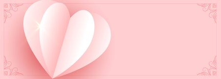 beautiful origami paper pink heart banner design 向量圖像