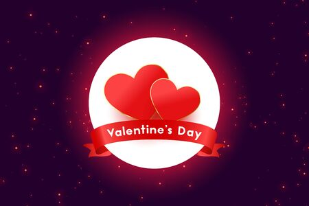 valentines day two hearts beautiful banner design