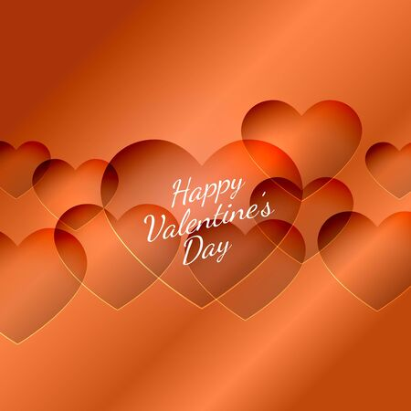 Happy red valentines day hearts background abstract design illustration