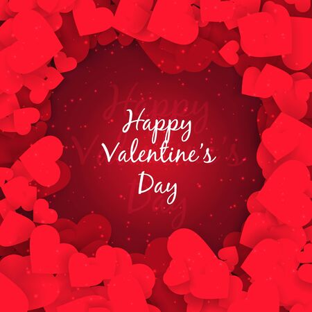 abstract Happy valentines day red hearts background design illustration