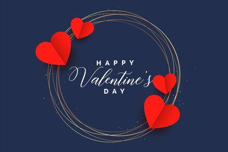 stylish hearts frame valentines day card design 向量圖像