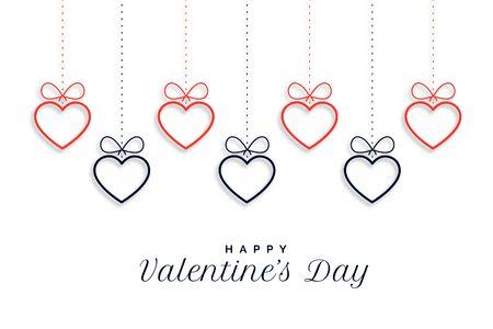 happy valentines day hanging hearts background design 向量圖像