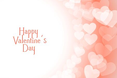 happy valentines day beautiful soft hearts background design 向量圖像