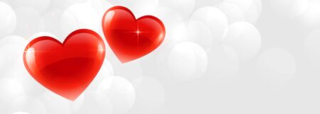 beautiful two shiny hearts banner with text space