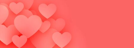 elegant pink love hearts banner with text space