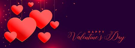 lovely red hearts valentines day banner design