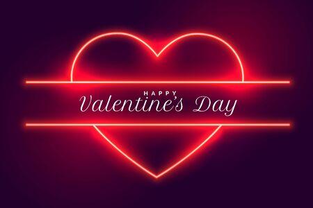 happy valentines day neon hearts background design