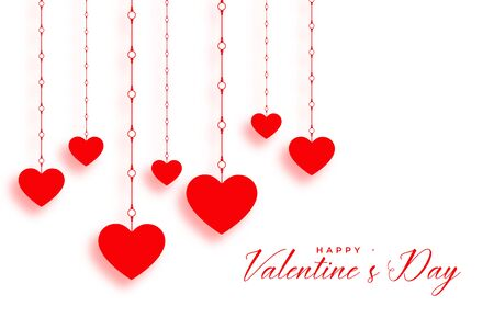 hanging red hearts on white valentines day background 向量圖像