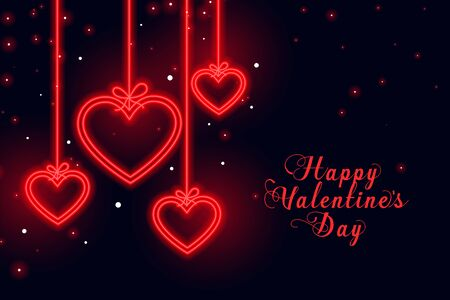 happy valentines day love neon hearts background