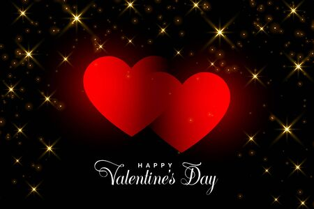 two red hearts with golden sparkles valentine background