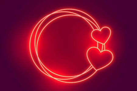 glowing red neon hearts frame with text space 向量圖像