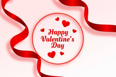 happy valentines day beautiful ribbon and hearts background 向量圖像