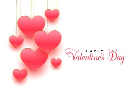 happy valentines day beautiful pink hearts background design 向量圖像