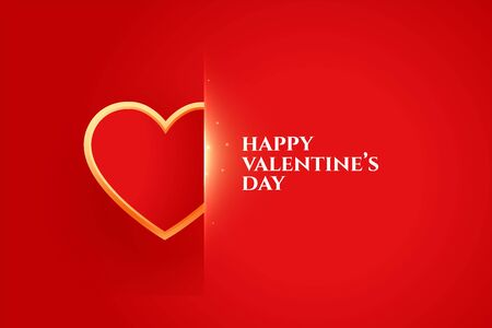 happy valentines day elegant design with golden heart