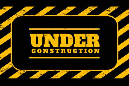 under construction background in yellow and black stripes