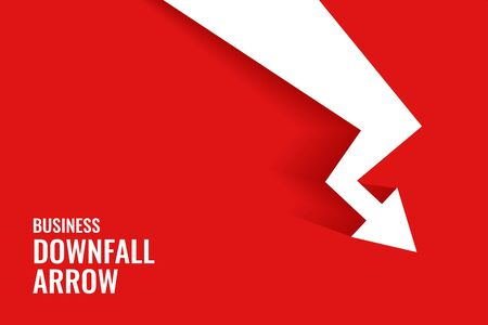 red downfall arrow showing downward trend background Vettoriali
