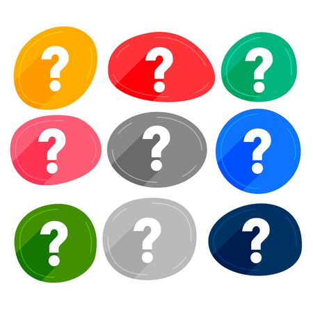 set of many colors question marks symbols Illustration