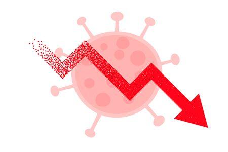 downfall arrow due to coronavirus background design Vektoros illusztráció