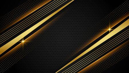 stylish linear black and golden abstract background Ilustración de vector
