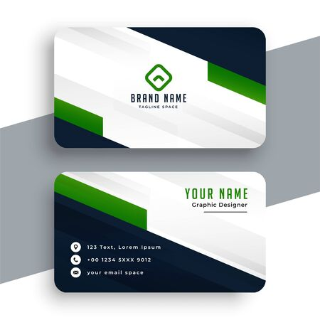 professional green business card geometric template design Ilustración de vector